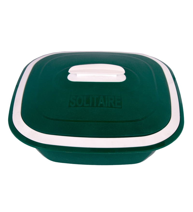 Kitchen Duniya Solitaire Microwave Safe Bottle Green Polypropylene 1.25 L Double Walled Casserole