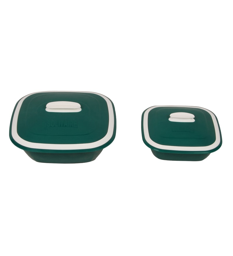 Kitchen Duniya Solitaire Microwave Safe Bottle Green Polypropylene Double Walled Casseroles - Set of 2