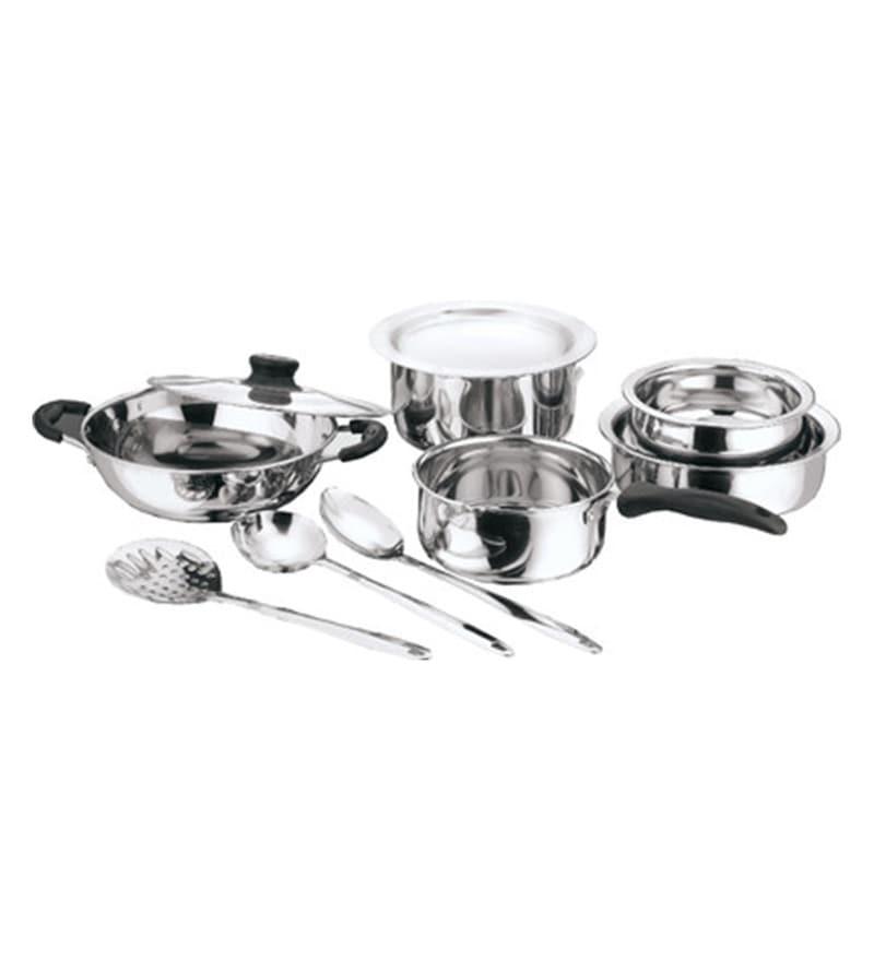 10-Piece Steel Cookware Set by Kitchen Essentials