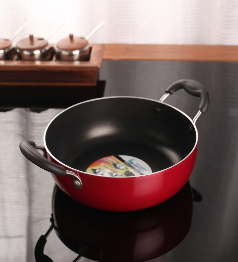 Aluminium 9 Inch Induction Nonstick Kadai by Kitchen Essentials