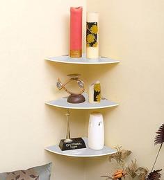 Klaxon White Glass Decor  Corner Shelves - Set Of 2