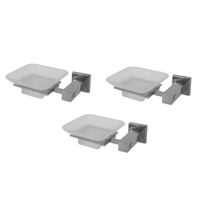 Klaxon Kristal 101 Silver Stainless Steel  6 x 3 x 2 Inch Soap Case - Set of 3