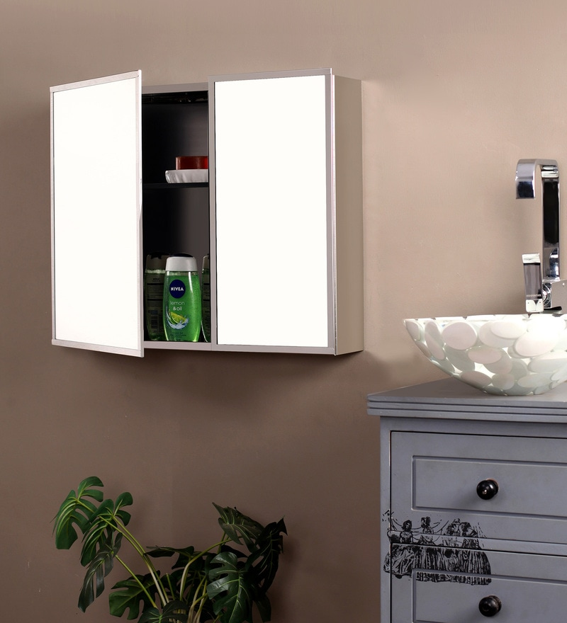 Silver Stainless Steel Cabinet with Mirror by Klaxon