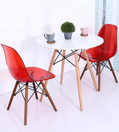 komako accent dsw eames replica plastic chair set of 2 in red colour