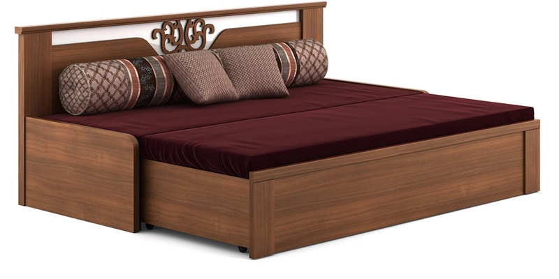 Buy Kosmo Ornate Sofa Cum Bed with Storage in Walnut Finish by