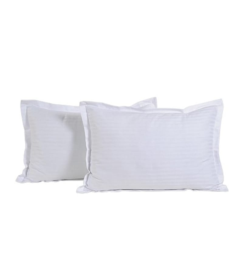 Whites Cotton 28 X 18 Pillow Covers - Set of 2 by Komfi