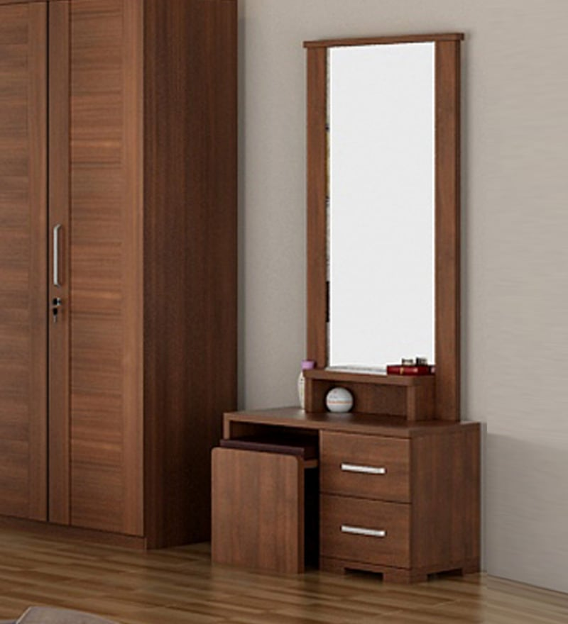 Kosmo Arena Dressing Table with Stool in Rigato Walnut Finish by Spacewood