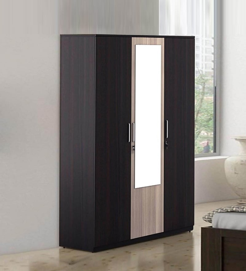 Kosmo Stark Three Door Wardrobe with Drawer in Fumed Oak \u0026 Mountain Larch Finish by Spacewood & Buy Three Door Carcass with 1.5mm Groove Shutter with MR Finish ...