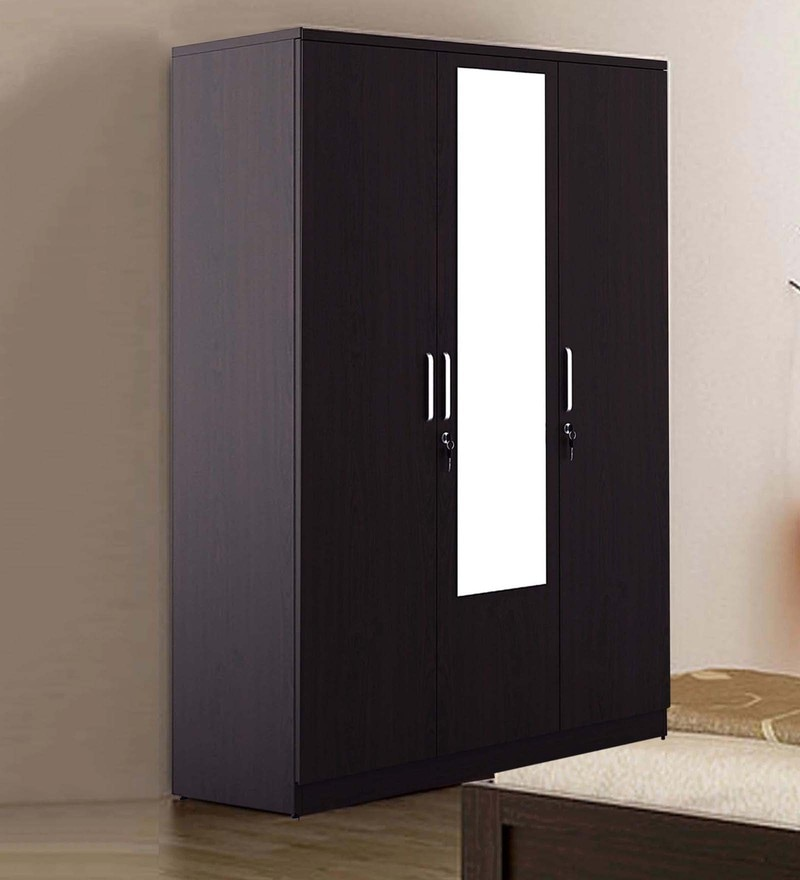 Kosmo Weave Three Door Wardrobe with Mirror in Vermount Finish by Spacewood