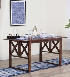 Kryss Six Seater Dining Table In Provincial Teak Finish