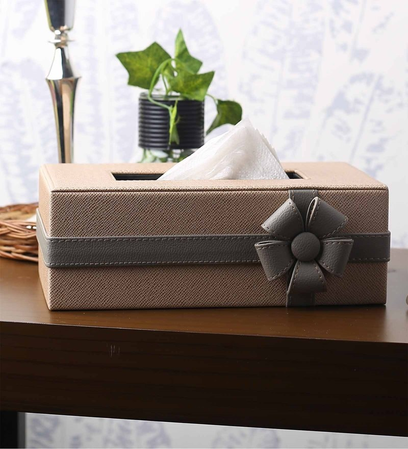 Kraftsmen Beige & Grey Leatherette Tissues Holder