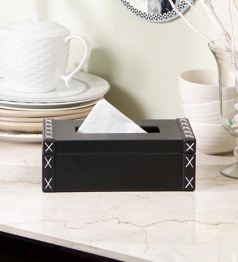 Kraftsmen Black PU Tissue Box