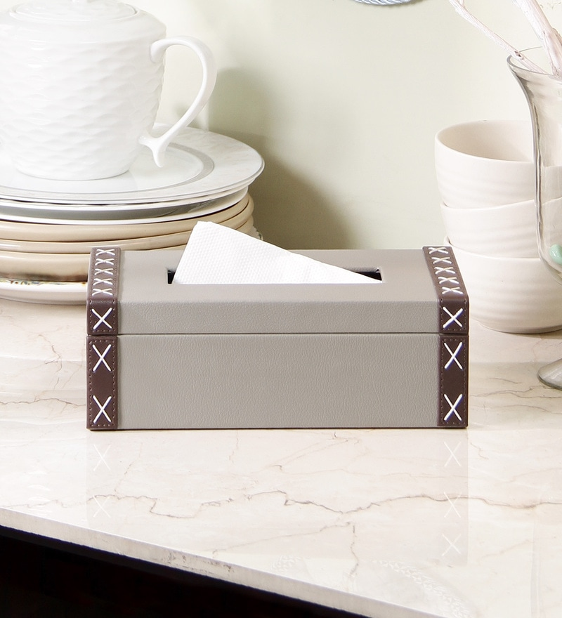 Kraftsmen Grey PU Tissue Box
