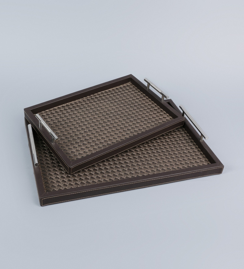 Kraftsmen Hand Crafted Green PU Tray with Nickel Handle - Set of 2
