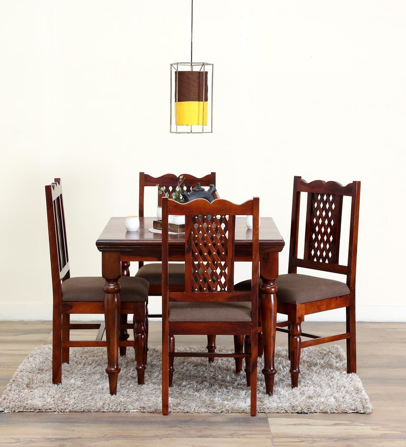 Krisa Four Seater Dining Set in Honey Oak Finish by Mudramark