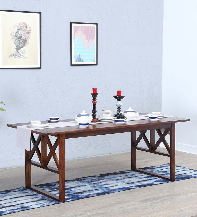 Kryss Eight Seater Dining Table in Provincial Teak Finish by Woodsworth
