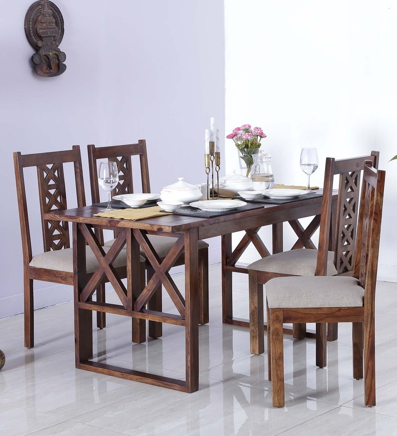 Kryss Four Seater Dining Set in Provincial Teak Finish by Woodsworth