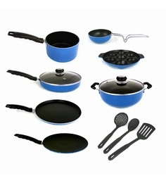 Kumaka Blue Premium Quality Non-Sitck Cookware With Glass Lid & Nylon Spoons - Set Of 9
