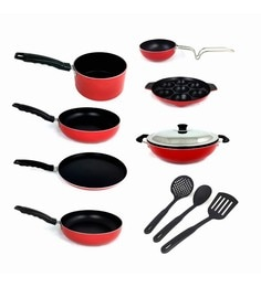 Kumaka Red Premium Quality Non-Sitck Cookware With Nylon Spoons - Set Of 10
