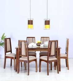 Kuzel Cushioned Six Seater Dining Set In Provincial Teak Finish