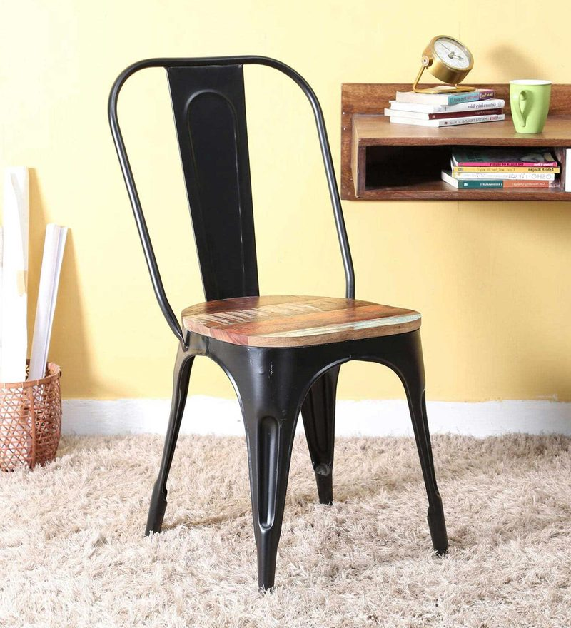 Kumtor Metal Chair in Distress Black Color with Wooden Seat by Bohemiana