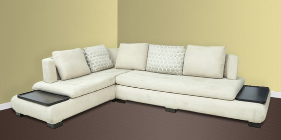 L Shape Sectional Corner Sofa With Left Lounger In Off White Colour