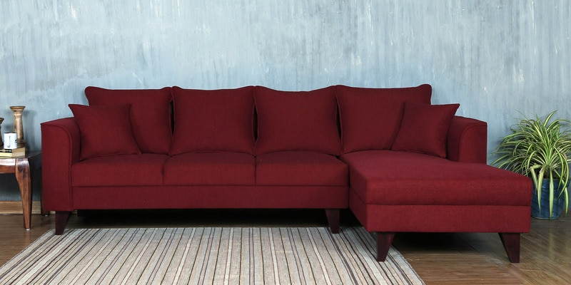 Lara LHS Three Seater Sofa with Lounger and Cushions in Garnet Red Colour by CasaCraft