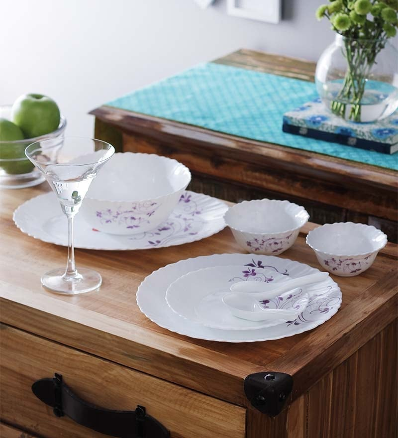Dazzle Purple Opalware Dinner Set - Set of 19 by La Opala