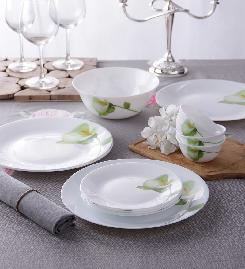 Diva Ivory Blush Opal Ware 13-Piece Dinner Set by La Opala