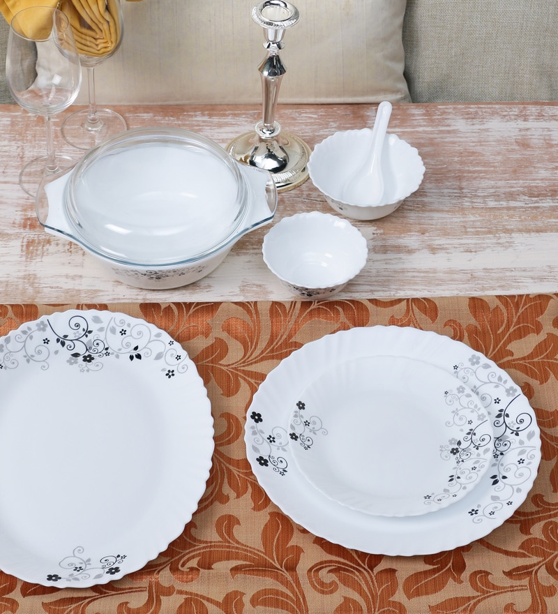 Diva Mystrio Black Opal Ware 35-Piece Dinner Set by La Opala