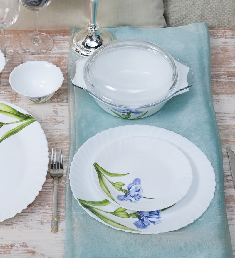 Diva Royal Iris Opalware Dinner Set - Set of 35 by La Opala