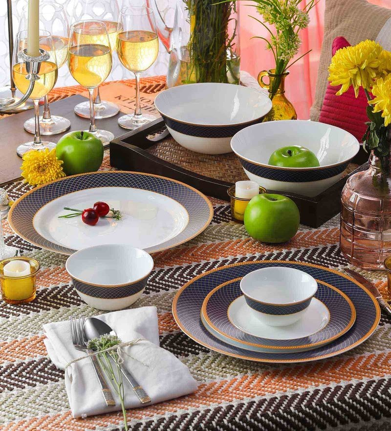 Diva Sovrana Regent Blue Opal Ware Dinner Set - Set of 33 by La Opala