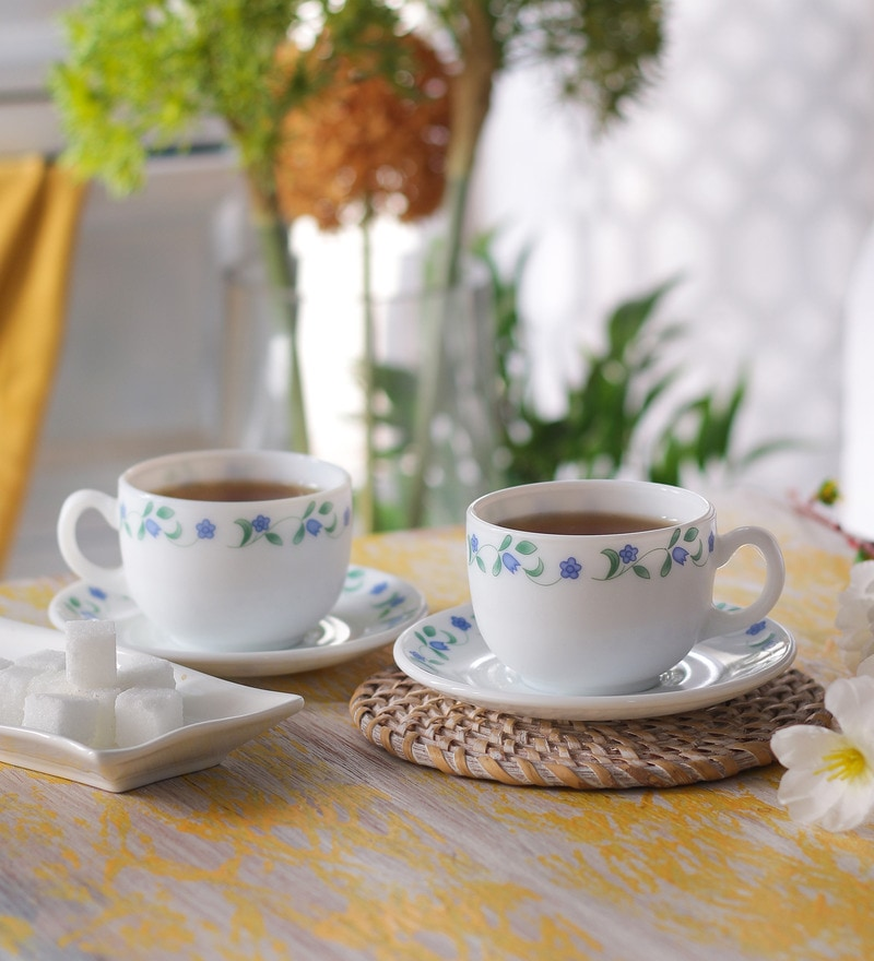 La Opala Iris Juniper Blue Opal Ware 160 ML Cup and Saucer - Set of 6