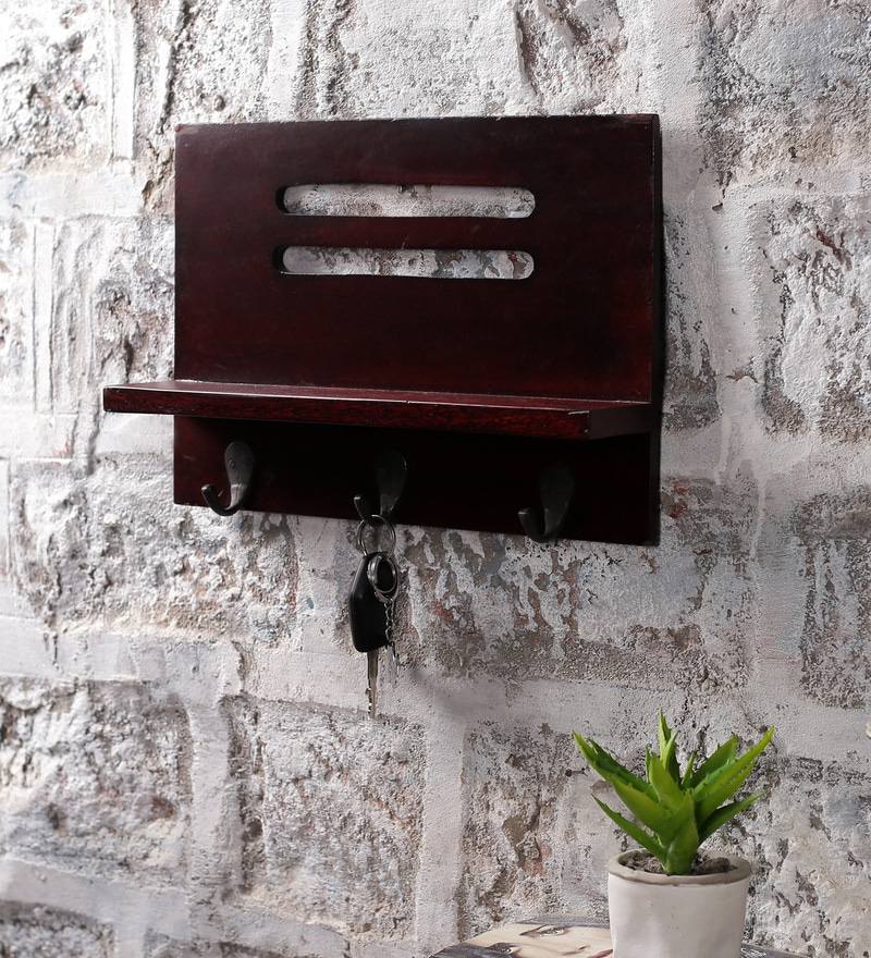 Walnut Wood & MDF Easy Multiutility Key Holder by La Stella