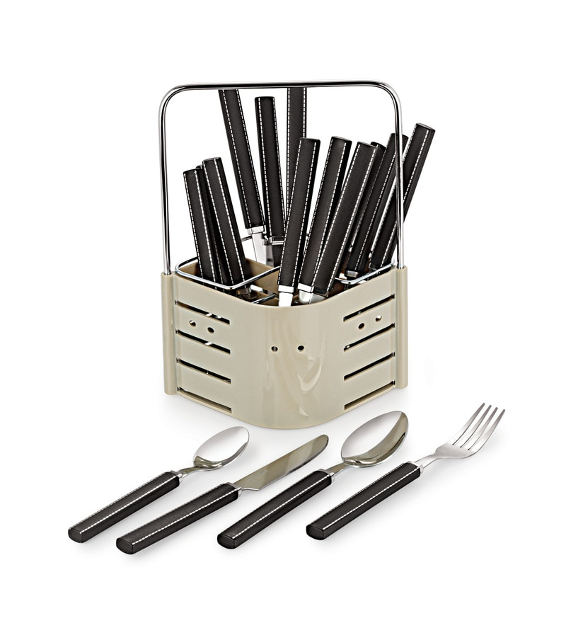 Lacuzini Thread Stainless Steel 16-piece Cutlery Set with Stand
