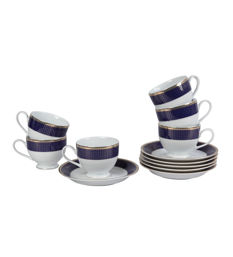 Lakline Porcelain 200 ML Cups & Saucers - Set of 6