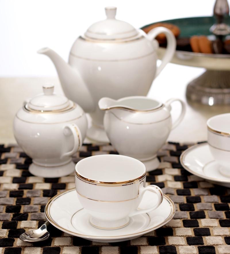 Lakline White and Golden Porcelain 15-piece Tea Set
