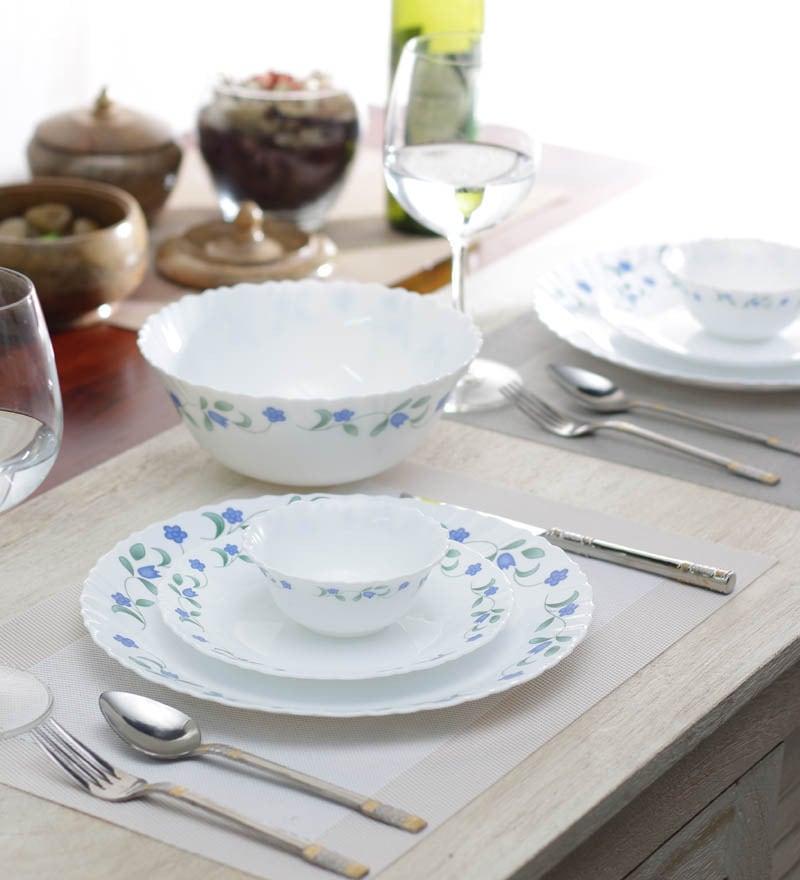Diva Juniper Blue Opalware Dinner Set - Set of 19 by La Opala