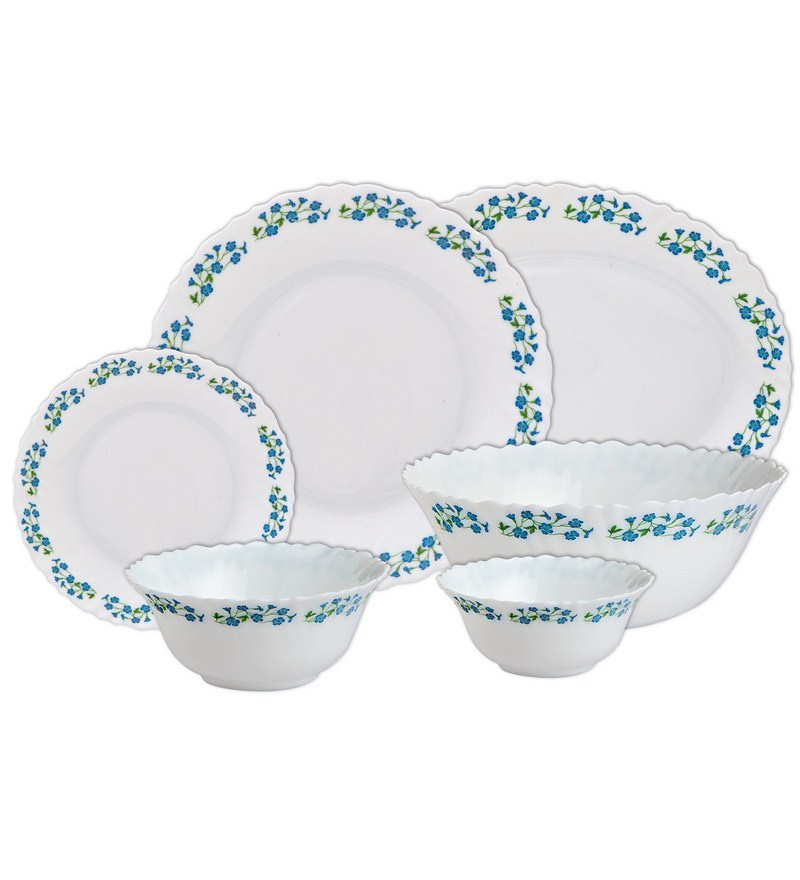Diva Juniper Blue Opal Ware 27-Piece Dinner Set by La Opala