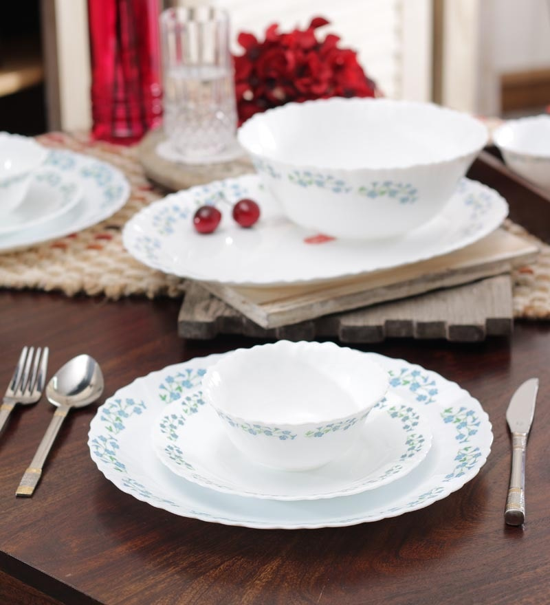 Diva Blue Dew Opalware Dinner Set - Set of 27 by La Opala