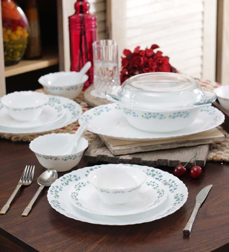 Diva Blue Bells Opalware Dinner Set - Set of 35 by La Opala