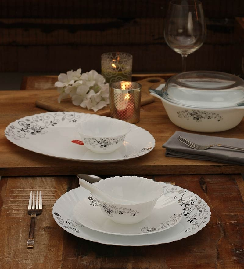 Diva Mystrio Black Dinner Set - Set of 35 by La Opala