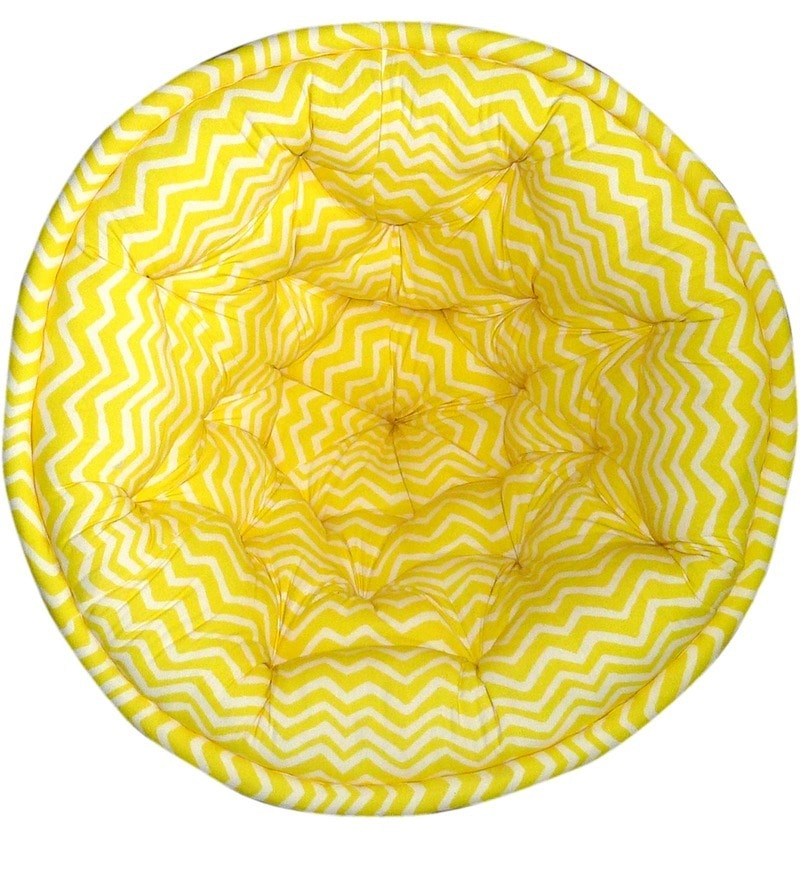 ORGANIC COTTON Kids Lap Pouffe in Yellow & White by Reme