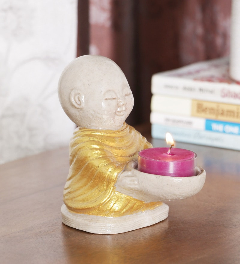 Multicolour Resin Laughing Buddha Tea Light Holder by Ethnic Clock Makers