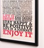 Lab No.4 - The Quotography Department Paper & PU Frame 13 x 0.7 x 17.5 Inch Enjoy Life Framed Poster