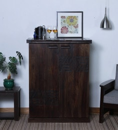 Lerro Large Bar Cabinet In Warm Chestnut Finish