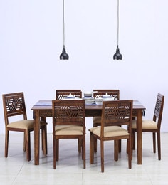 Lerro Six Seater Cushioned Dining Set In Provincial Teak Finish