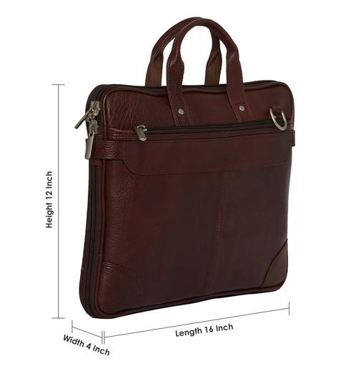 ca6b9b2e39 Buy Leather World Designer Brown Leather Office Travel Bag