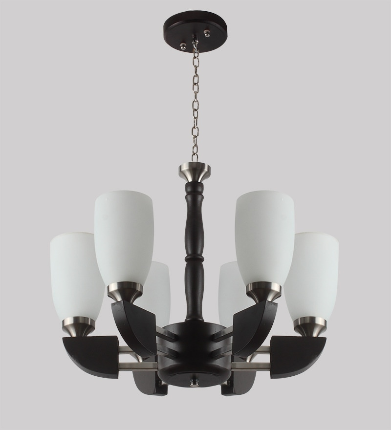 Contemporary Glass Metal Wood Chandelier CH278 by LeArc Designer Lighting