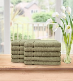 Light Brown Signature 630 GSM Cotton Face Towel Set (Pack Of 10)by Swiss Republic
